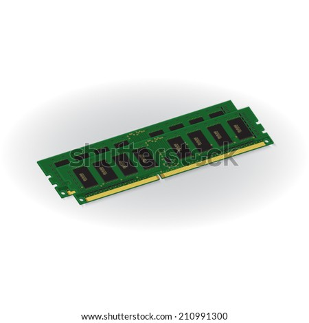 Computer RAM (Random-Access Memory) Chip Isolated on White Background. RAM Memory Module. Vector Illustration.