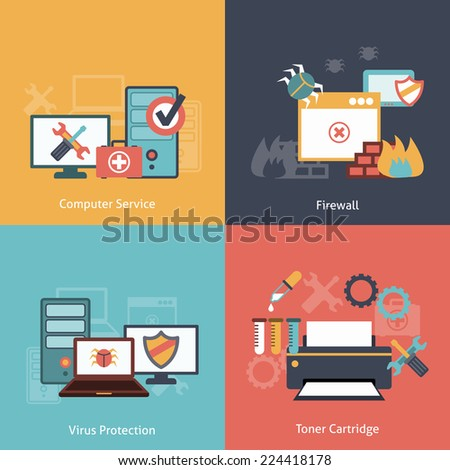 Computer repair and  antivirus protection software installation service flat icons infographics with laser toner isolated vector illustration - stock vector
