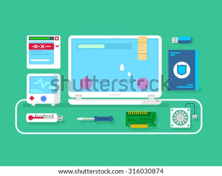 Computer repair. Computer service, setting maintenance and diagnostic, flat vector illustration - stock vector