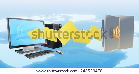 Computer safe secure transfer backup concept of files moving from computer to safe with world map in background. - stock vector
