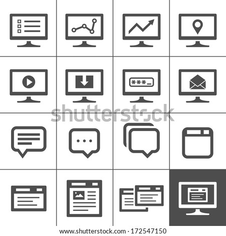 Computer screen symbols and icons. Dialog and message boxes. Simplus series. Vector illustration - stock vector