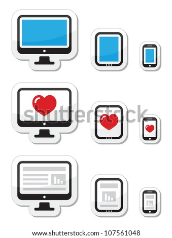 Computer screen, tablet, and smartphone icons - stock vector