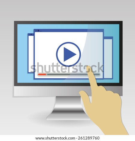 Computer screen technology play button touch by hand - stock vector