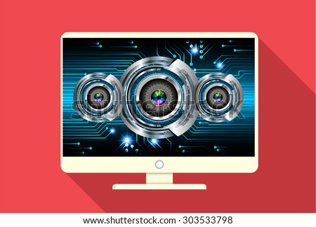 Computer security code abstract image. Password protection conceptual image. Eye Security concept. PC. technology digital website internet web - stock vector