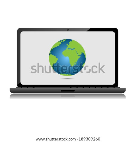 Computer Security Concept, laptope with globe. Vector illustration.