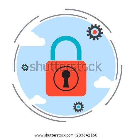 Computer security, data protection, blocking unauthorized access, antivirus, firewall flat design style vector concept illustration
