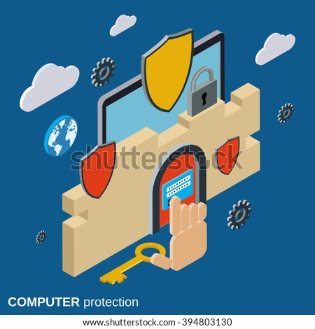 Computer security, data protection flat 3d isometric vector concept. - stock vector