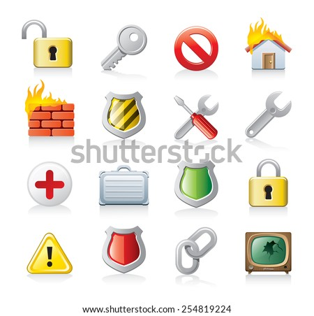 computer security icons - stock vector
