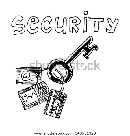 Computer security key. Vector illustration isolated on white background