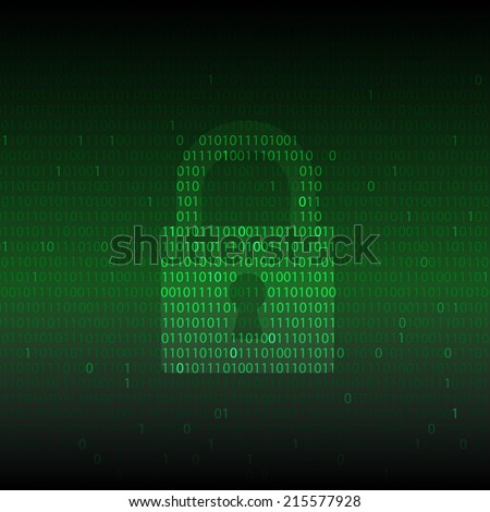 Computer security. locker icon on binary code screen - stock vector