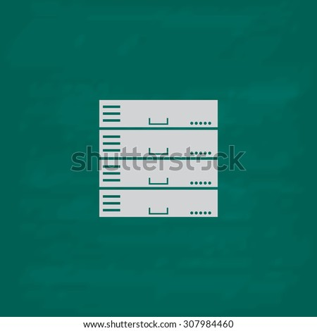 Computer Server. Icon. Imitation draw with white chalk on green chalkboard. Flat Pictogram and School board background. Vector illustration symbol - stock vector