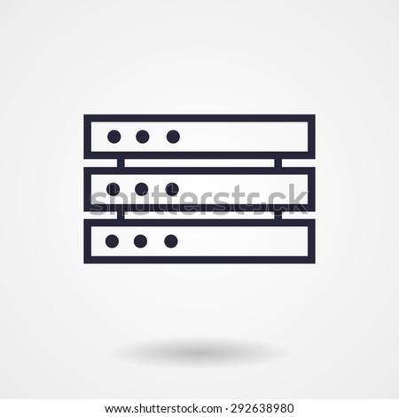 Computer Server. line vector icon - stock vector