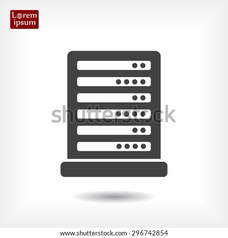 Computer Server line vector icon - stock vector