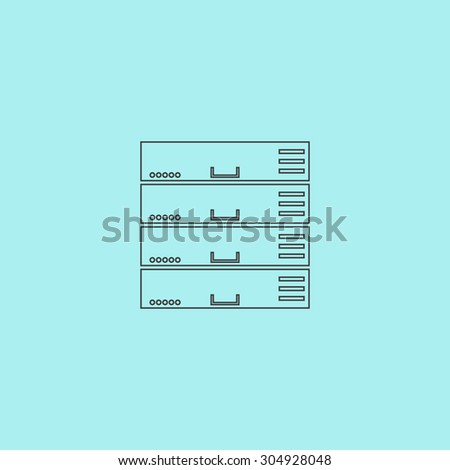 Computer Server. Simple outline flat vector icon isolated on blue background - stock vector
