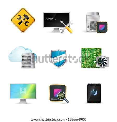 Computer service icons set - stock vector