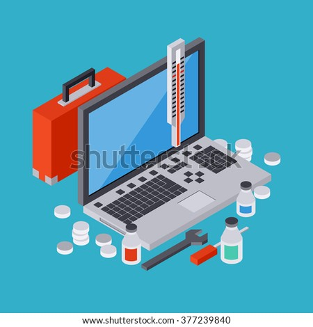 Computer service, repair, technical support, first aid flat 3d isometric vector concept illustration
