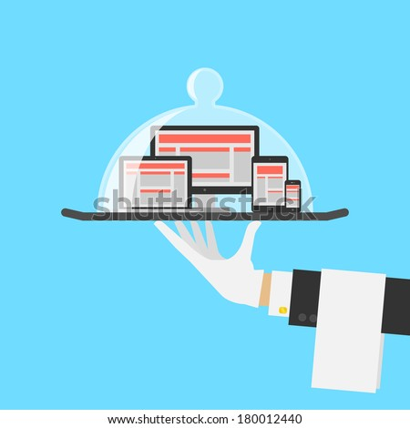 Computer Shop Or Responsive Web Design Service Concept. Vector - stock vector