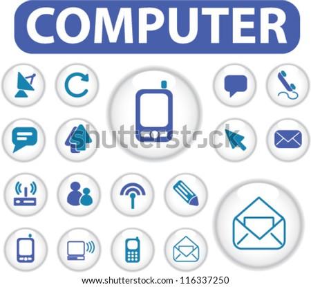 computer & smartphone circle buttons set, vector - stock vector