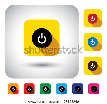 computer start sign on button - flat design vector icon. This graphic symbol with long shadows also represents booting CPU, starting button on gadgets like laptop, PC, tablets & mobiles - stock vector