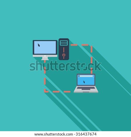 Computer sync icon. Flat vector related icon with long shadow for web and mobile applications. It can be used as - logo, pictogram, icon, infographic element. Vector Illustration. - stock vector
