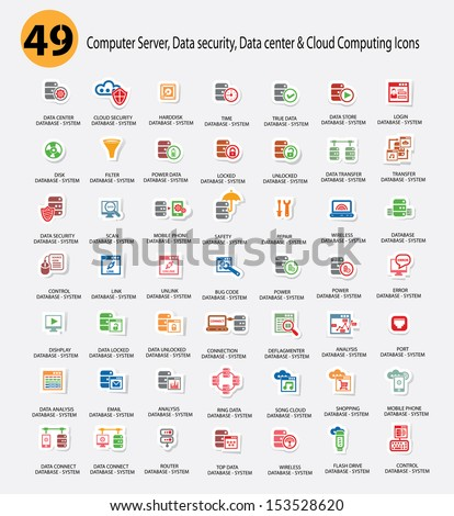 Computer system,Data center,Data security and Cloud computing Icons,Colorful version,vector - stock vector
