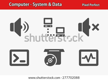 Computer - System & Data Icons. Professional, pixel perfect icons optimized for both large and small resolutions. EPS 8 format. Designed at 32 x 32 pixels. - stock vector