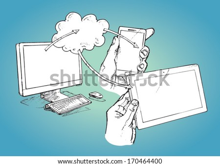 Computer, tablet and smart phone connected to the cloud - vector sketch illustration - stock vector