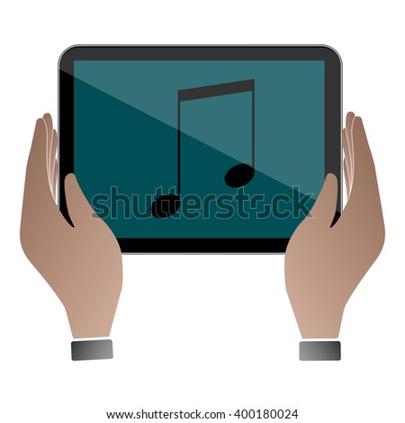 Computer tablet / Computer tablet Icon Object / Computer tablet Picture / Computer tablet Drawing / Computer tablet Image / Computer tablet Icon Graphic / Computer tablet Icon technology / music sign - stock vector