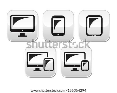 Computer, tablet, smartphone vector buttons set - stock vector