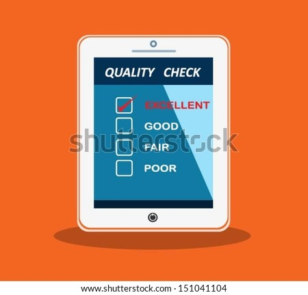 Computer tablet with a quality check. Vector illustration. - stock vector