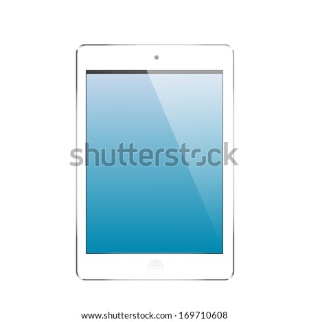 computer tablet with blank blue screen white - stock vector