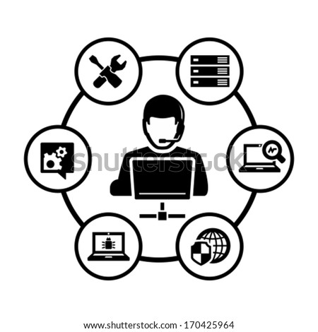 Computer technician vector icon - stock vector