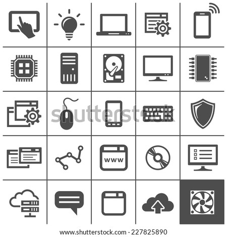 Computer technology icons. Network devices and connections. Simplus series. Vector illustration - stock vector
