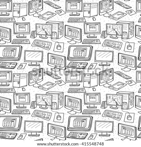 Computer Technology seamless pattern. Hand drawn Computers, Desktops,  PC - stock vector