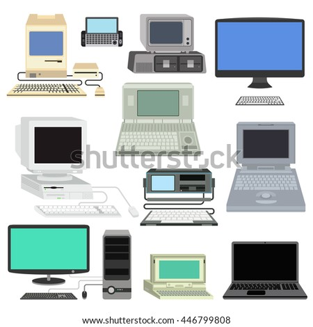 Computer technology vector set isolated display. Telecommunication equipment metal pc monitor frame computer modern office network. Old computer device electronic black equipment space. - stock vector