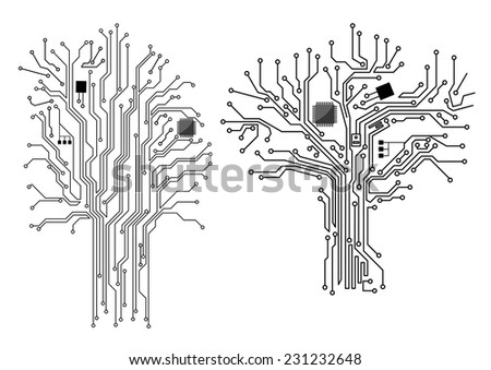 Computer tree with chip and motherboard elements, vector concept design - stock vector