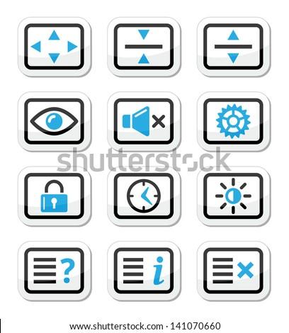 Computer tv monitor screen vector icons set - stock vector