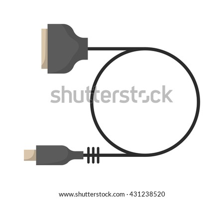 Computer VGA cable connection and computer equipment data connect cable. Computer VGA cable digital cord connector internet power line. Cable wire computer VGA plug connection technology . - stock vector