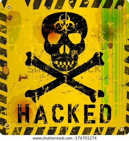 computer virus alert sign, vector illustration - stock vector