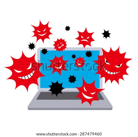 Computer virus. color - stock vector