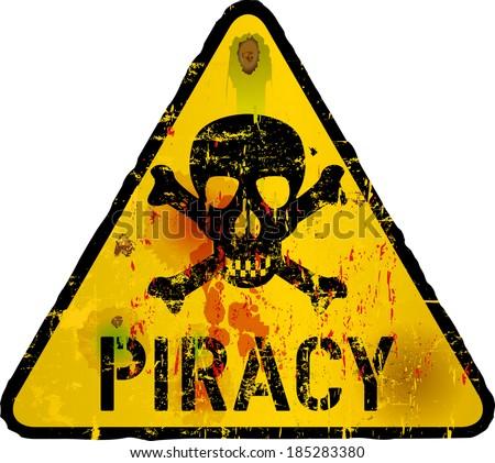 Computer virus, piracy, phishing warning sign,vector - stock vector