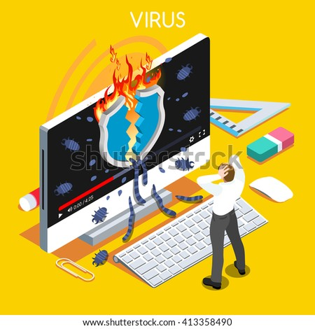 Computer virus trojan malware attack warning infographic. 3D flat isometric people set. Virus concept hacker attack trojan malware computer infection high security risk isolated vector illustration. - stock vector