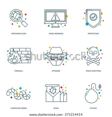 Computer virus vector icons set, line style - stock vector