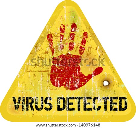 computer virus warning sign, vector - stock vector