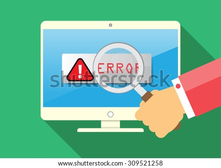 Computer viruses concept. Find Virus with Magnifying Glass Computer icon Symbol. Security scan. vector. flat style background. Laptop PC. digital technology graphics website internet - stock vector