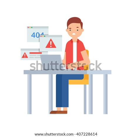 Computer viruses, system errors. Vector illustration of a man sitting at the table and working on the computer  - stock vector