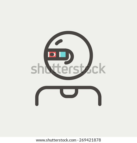 Computer web camera icon thin line for web and mobile, modern minimalistic flat design. Vector icon with dark grey outline and offset colour on light grey background. - stock vector