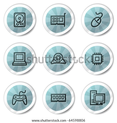 Computer web icons, blue shine stickers series - stock vector