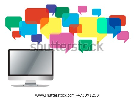 computer with colorful chat box , message box communication background