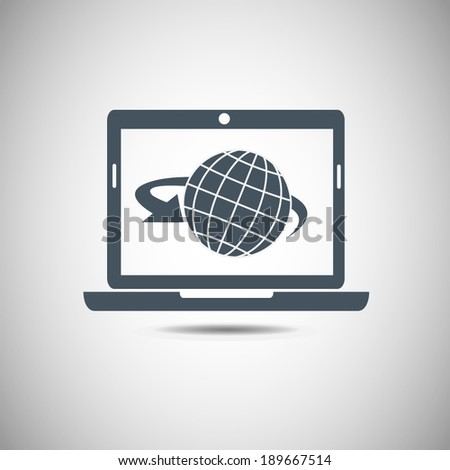 Computer with globe on screen vector illustration. Flat design style - stock vector
